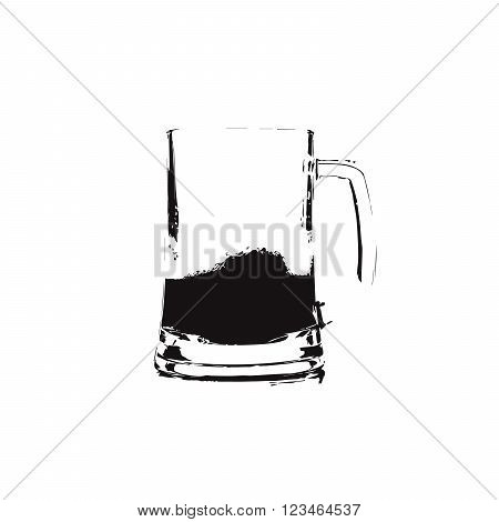 black and white graphic image of beer with reflection in glass with foam and bubbles