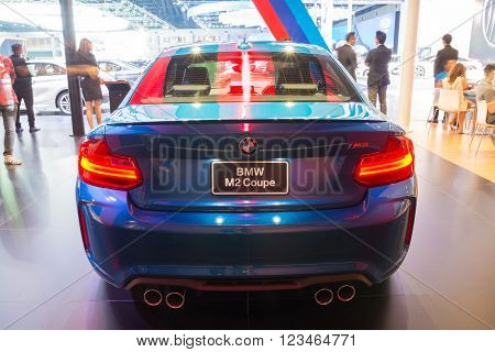 NONTHABURI - MARCH 23: NEW BMW M2 Coupe on display at The 37th Bangkok International Motor show on MARCH 23, 2016 in Nonthaburi, Thailand.