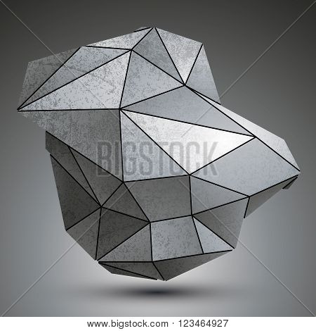 Deformed Dimensional Tech Grayscale Object, 3D Complex Cybernetic Element.