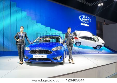 NONTHABURI - MARCH 23: NEW Ford focus 2016 on display at The 37th Bangkok International Motor show on MARCH 23 2016 in Nonthaburi Thailand.