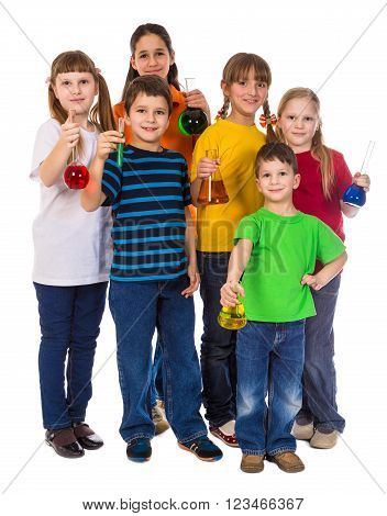 Group of smiling kids holding a chemical flasks, isolated on white
