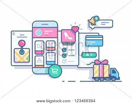 Online mobile shop. Technology business store web,  e-commerce marketing, vector illustration