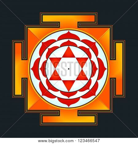 Colored Bhuvaneshwari Yantra Illustration.