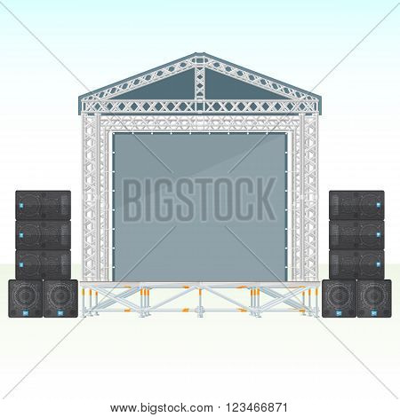 Color Flat Sectional Concert Metal Stage With Speaker System.
