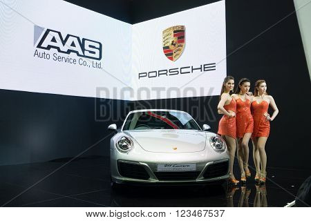 NONTHABURI - MARCH 23: New Porsche 911 Carrera S on display at The 37th Bangkok International Motor show on MARCH 23, 2016 in Nonthaburi, Thailand.