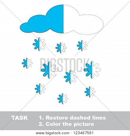 Snowfall in vector colorful to be traced. Restore dashed line and color the picture. Worksheet to be colored.