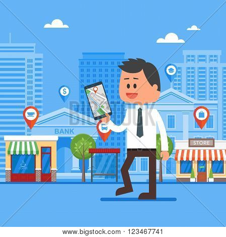 Mobile navigation concept vector illustration. Man holding smartphone with gps city map on screen and route. Check-in symbols. Flat design.