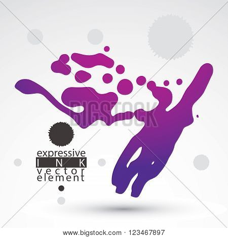 Vector brush multicolored painted ink blob smudge background. Web and graphic design element.