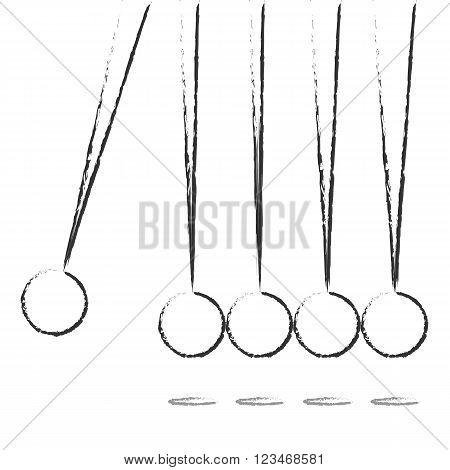 Flat Design balancing balls Newtons Cradle. Vector Illustration EPS10