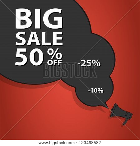 Sale poster speech bubble with percent discount. Christmas sales. Holiday sales. Vector illustration. EPS10