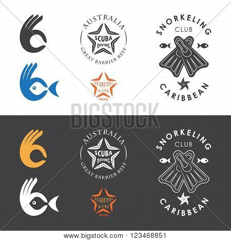 Snorkeling club emblems. Vector illustration with a hand starfish and flippers. Logo and emblem template for snorkeling club.