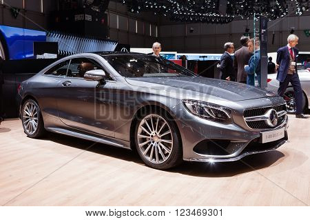 GENEVA, SWITZERLAND - MARCH 1: Geneva Motor Show on March 1, 2016 in Geneva, Mercedes-Benz S400 4Matic Coupe, rear-side view