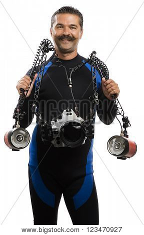 Cheerful Underwater Photographer