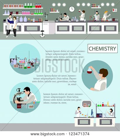 Scientist working in laboratory vector illustration. Science lab interior. Chemistry education concept. Male and female engineers making research and experiments.