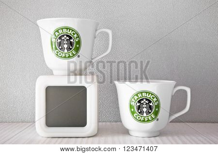 Starbucks Cups And Clock