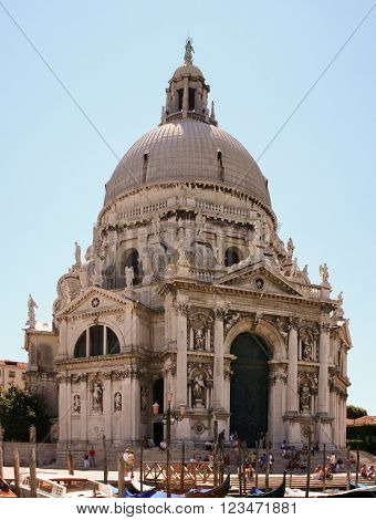 VENICE, ITALY - AUGUST 5, 2007: Santa Maria della Salute on the Grand Canal in Venice Italy, front view
