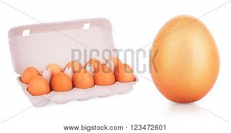 yellow eggs in box on a white background