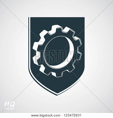 3d graphic gear symbol on shield heraldic escutcheon with an engineering design element. Engine component symbol, industrial cog wheel.