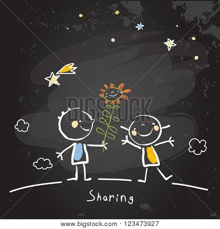 Kids sharing flowers, friends. Vector concept drawing, chalk on chalkboard sketch, doodle.