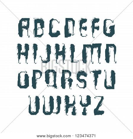 Vector stylish brush uppercase letters handwritten font sans serif typeset on white background.