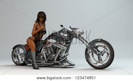 3D illustration of a biker girl wearing leather outfit