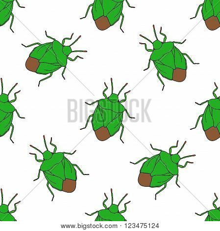 Seamless pattern with shield bug. Palomena prasina hand-drawn shield stink bug. Palomena prasina. Vector illustration