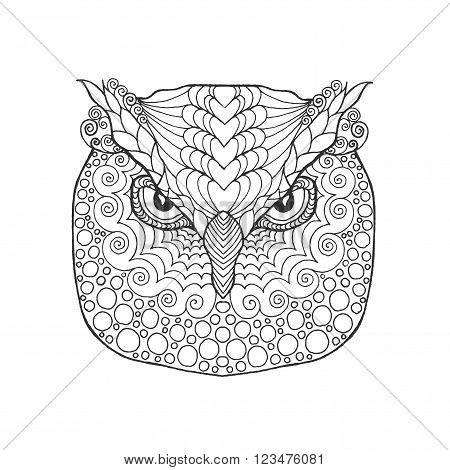 Eagle owl head. Adult antistress coloring page. Black white hand drawn doodle animal. Ethnic patterned vector. African, indian, totem tribal, zentangle design. Sketch for tattoo, poster, print, t-shirt