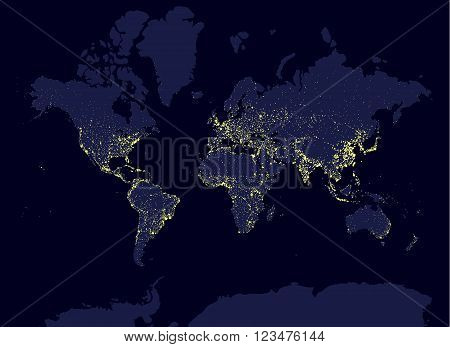 Earth at night world map, earth day concept, world population biggest cities. Glow infografic elements. Urbanization and globalisation idea. yello neon luminanse. Hud elements