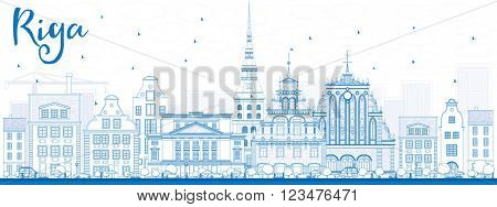 Outline Riga Skyline with Blue Landmarks. Vector Illustration. Business Travel and Tourism Concept with Historic Buildings. Image for Presentation Banner Placard and Web Site.