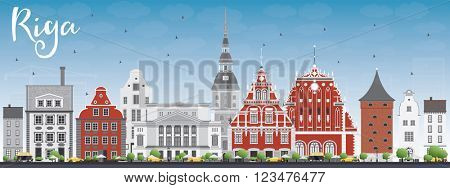 Riga Skyline with Landmarks and Blue Sky. Vector Illustration. Business Travel and Tourism Concept with Historic Buildings. Image for Presentation Banner Placard and Web Site.