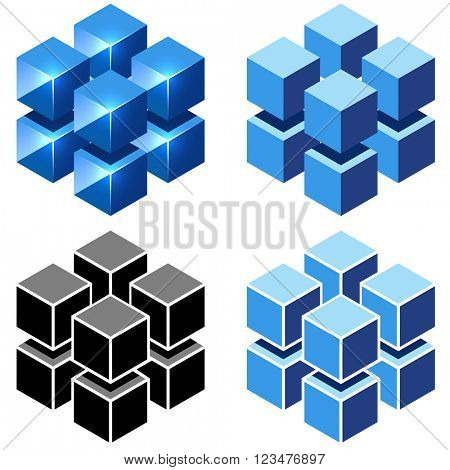 Isometric cubes vector sign isolated on white background.