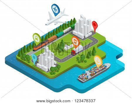 Global logistics network Flat 3d isometric vector illustration Air cargo trucking rail transportation maritime shipping On-time delivery