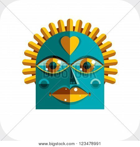 Avant-garde avatar personality face created in cubism style. Modernistic geometric portrait multicolored vector illustration of facial expression.