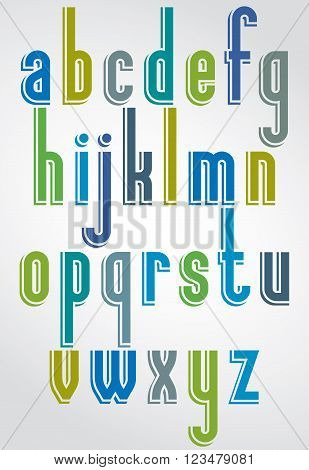 Colorful ont lower case letters with white outline.