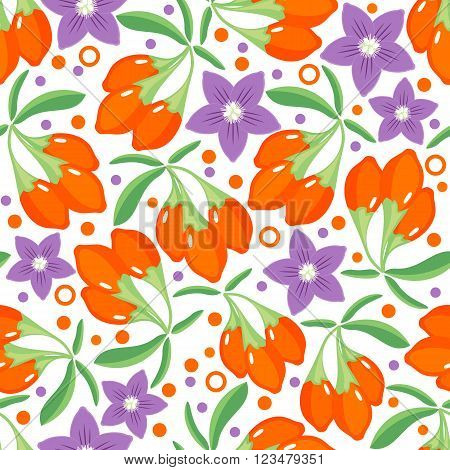 Seamless pattern with goji berries. Design for paper or textile. Berries on white background. Vector illustration