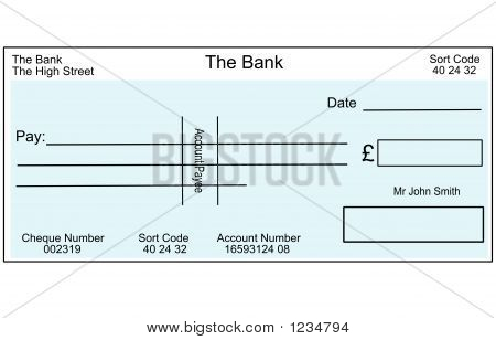 An Illustration Of A Blank British Cheque.