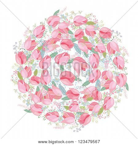 Shape circle made of stylized  pink tulips.    Template of flowers for romantic design,  wedding invitations, advertisement.