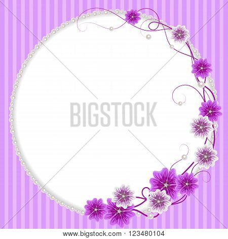 Delicate frame with mallow flowers and pearls on pink striped background for greeting card or invitation design.
