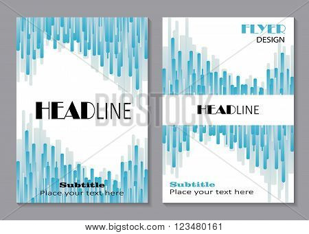 Business brochure flyer design layout template in A4 size. Blue lines in shape of wave , abstract vector background. Business, science, medicine and technology design.