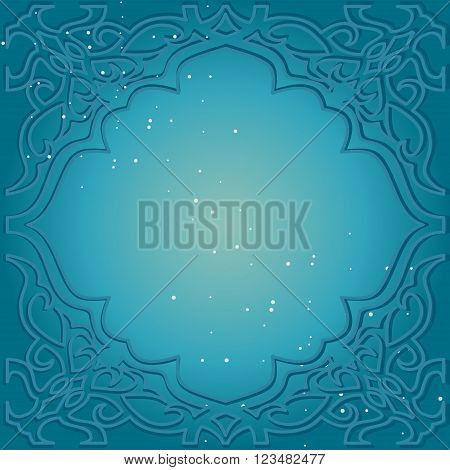 Greeting card in Arabic style. Eastern frame with a blue background