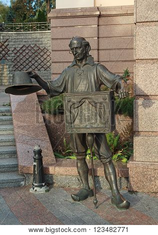 Kiev Ukraine - October 02 2015: Bronze statue of character from fairy tale Papa Carlo near the Academic puppet theater