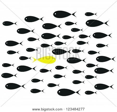 Yellow Fish swim opposite upstream the ton of black fish isolated on white background illustration