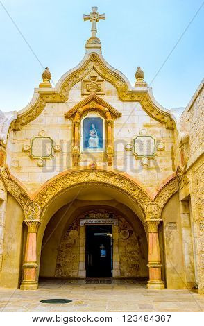 BETHLEHEM, PALESTINE - FEBRUARY 18, 2016: The small Franciscan chapel, that built over the Milk Grotto, on February 18 in Bethlehem.