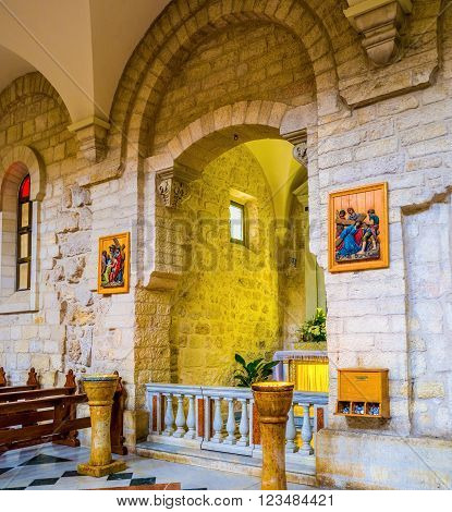BETHLEHEM PALESTINE - FEBRUARY 18 2016: The small chapel inside the Church of the Nativity on February 18 in Bethlehem.