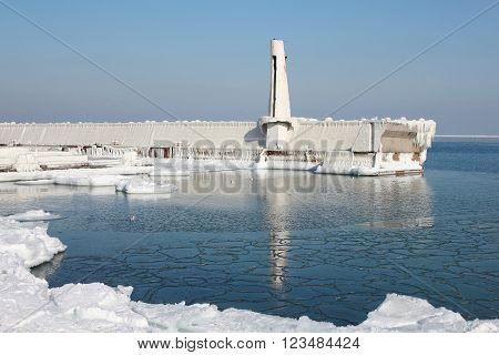 Severe frost on the Black Sea has made concrete breakwater in a fairytale castle. Picture taken in the winter of 2011-2012 in Ukraine.