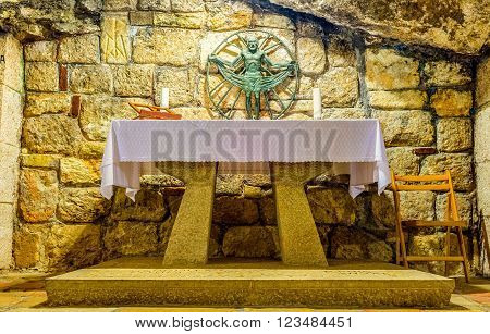 BETHLEHEM PALESTINE - FEBRUARY 18 2016: The altar in the Chapel of St. Joseph in the cave of the Church of the Nativity on February 18 in Bethlehem.
