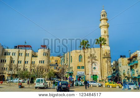 BETHLEHEM PALESTINE - FEBRUARY 18 2016: The Manger Square is the logical square of the city with all landmarks around it on February 18 in Bethlehem.
