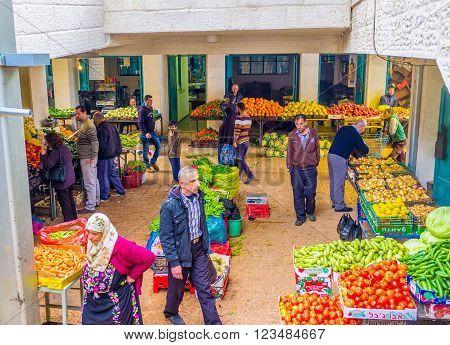 BETHLEHEM PALESTINE - FEBRUARY 18 2016: The Bethlehem market is the central vegetable market of the city on February 18 in Bethlehem.