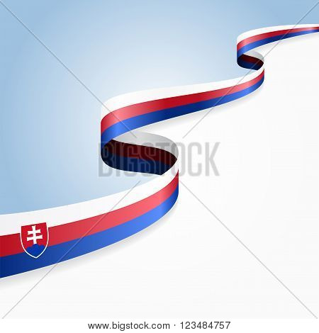 Slovak flag wavy abstract background. Vector illustration.