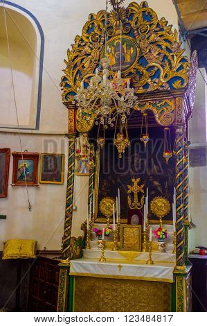 BETHLEHEM, PALESTINE - FEBRUARY 18, 2016: The old icon to Madonna and the child inside the Church of the Nativity on February 18 in Bethlehem.